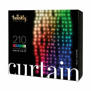 Twinkly 210 Led Rgb White 3.5x7 Ft Curtain Lights Bluetooth Wifi Control