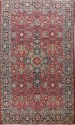 Antique Vegetable Dye Red Khoy Tebriz Area Rug Hand-knotted Dining Room 8and039x11and039