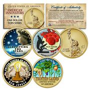 Set Of All 4 - American Innovation Colorized 2019 Statehood 1 Dollar Coins Coa