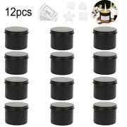 16pcs Round Candle Tin Black 100ml Metal Seamless Wax Soy Making Container Jars