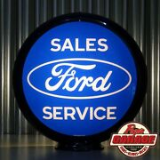Ford Sales Service - 13.5 Glass Advertising Globe - Made By Pogoand039s Garage