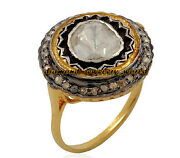 Vintage Style 1.63cts Genuine Old Mine Rose Antique Diamond Silver Ring Jewelry