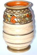 Deliciously Chic Charlotte Rhead Tube Lined Vase 12 High Polychome Fruits C1930