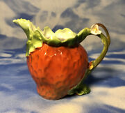Antique Royal Bayreuth Porcelain Figural Strawberry Creamer Pitcher Guc As Is