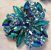 Sherman Metallic Green Blue Ab Large Pin Brooch And Clip Earrings Signed
