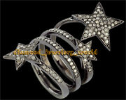 3.68cts Genuine Old Mine Rose Cut Diamond Silver Vintage Style Star Ring Jewelry