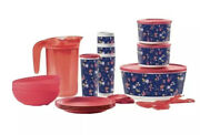 New Tupperware Falling For Floral Serving Collection Set Bowls Plates Tumblers