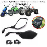 1 Pair Motorcycle Atv Scooter 7/8 22mm Handle Bar End Rearview Side Mirrors Kit