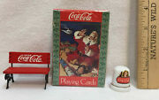 Coca Cola Santa Claus Playing Cards Miniature Bench And Thimble Coke Lot 3