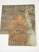 1912 Adverting Metal Printing Plate Canadian Pacific Railway Northpacific Coast