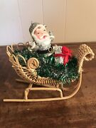 Vintage Santa Claus In Wicker Sleigh Tinsel Christmas Holiday Decor Glitter