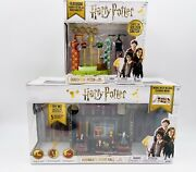 Harry Potter Mini Hogwarts And Quidditch Shop Toy Playsets Set Of 2 New Sale
