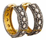 Estate 4.43ct Real Old Mine Rose Antique Cut Diamond Silver Hoop Earring Jewelry
