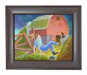 Randall Berndt Andldquothe Farmer And The Stormandrdquo Painting On Board Wisconsin Artist