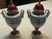 Kaiser Porcelain Vases With Lids Handpainted Raspberry With Gold Accents. 13h