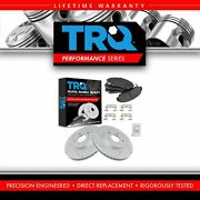 Trq Rotor And Brake Pad Semi Metallic Performance Drilled Slotted Front Kit