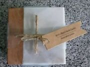 White Marble And Acacia Wood Coasters, Set Of Four. Very Nice. Nwt