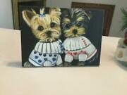 Yorkie Puppies Printed Canvas Standing Picture From Original No Frame Needed