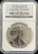 2006 P 1 American Eagle Silver Coin 20th Anniversery Reverse Proof Pf 70