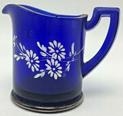 Vintage Cobalt Blue Glass Creamer Pitcher White Painted Flowers