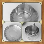 Antique French Rococo Sterling Silver Chocolate Cup And Saucer