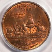 2000 Pcgs Ms64 Missing Clad Layer Virginia Quarter Mint Error Copper State Side