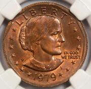 1979 Ngc Ms64 Missing Clad Layer Susan Anthony Dollar Mint Error Red Copper Sba