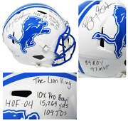 Barry Sanders Signed Lions Flat White Riddell Speed F/s Rep Helmet W/7 Ins - Ss