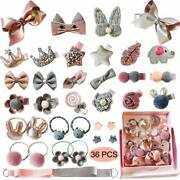 New Baby Girland039s Hair Accessories For Ponytail Holder Hairpins Bow Clips 36 Pcs