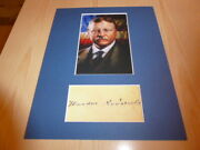 Theodore Roosevelt Mounted Photograph And Preprint Signed Autograph Card