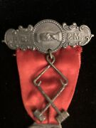 Order Daughters Of St George Sterling Silver Fraternal Masonic Ribbon Brooch Pin