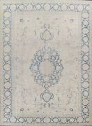 Antique Geometric Muted Light Beige Sarouk Area Rug Hand-knotted Low Pile 9'x12'