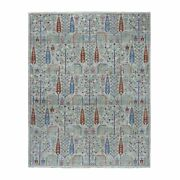 8'2x9'10 Gray Willow And Cypress Tree Design Pure Wool Hand Knotted Rug R54816