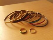 Joblot Bundle Of Brass And Enamel Costume Jewellery Bracelets And Rings. X12 Items.