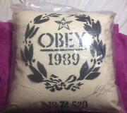 Shepard Fairey Stenciled Obey Flour Sack Pillow Signed Rare 2011 18andrdquox18andrdquox6andrdquo.