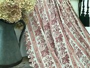 Antique French Cotton Curtain Fabric Softly Faded Raspberries Roses 19th C