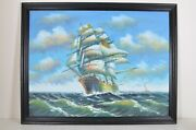 Vintage Clipper Sailing Ship Sailboat Maritime Oil On Canvas Very Large Painting