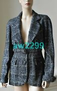 07a Most Wanted Wool Blend Belted Tweed Jacket Blazer 40