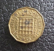 Great Britain United Kingdom Coin 1958 British 3 Pence Coin Nickel Brass