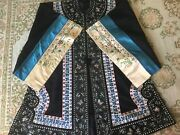 Fine Chinese Embroidery Robe Double Dragon Damask Silk Elaborate Ribbon Antique