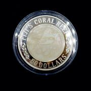 2005 50 Dollars Silver Fiji's Coral Reef 5 Oz Silver Proof Coin - Abc -