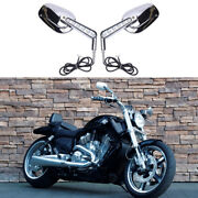 Chrome Motorcycle Led Turn Signals Mirrors For Harley Davidson Vrod Muscle Vrscf