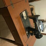 1938 Singer 15-91 Sewing Machine - Fully Functional - In Sewing Cabinet/table