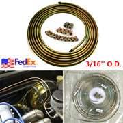 50 Ft Zinc Steel Auto Brake Line Oil Fuel Tubing Kit 3/16and039and039 Inch + 16x Fittings