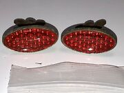 2 Vintage Red Oval Glass Bicycle Car Motorcycle Old License Plate Reflectors 10