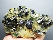 Rare Cassiterite And Fluorite And Pyrite Iron Mica Sheet Crystal Cluster Specimen