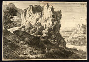 Antique Master Print-mountain Landscape With Lake-villages-h.73-waterloo-1690