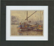 J.r.s. Frank - Framed Early 20th Century Watercolour The Sailing Barges