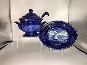 Lb3 Historical Staffordshire Marine View Gravy Tureen Ladle By Wood Ca. 1825