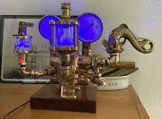 Antique Vintage Wwii Oil Pump Gauge Glowing Oiler Serpent Dragon Fish Light